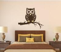 Owl On Branch Vinyl Decal Wall Sticker Mural Nursery Teen Room Bathroom Decor