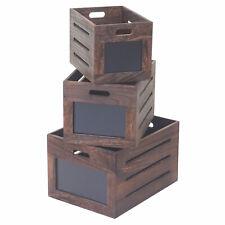3er Set Holzkiste MCW-E11, Aufbewahrungsbox mit Tafel, Shabby-Look,Vintage braun