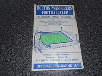 BOLTON WANDERERS  v  LUTON TOWN  1959/60 ~ MARCH 9th         *****FREE POST*****