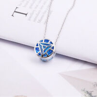 925 Silver Iron Man Arc Reactor Blue Pendant Necklace Chain Couple Jewelry Gifts