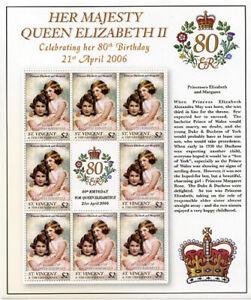 St. Vincent 2006 - SC# 3499 Queen Elizabeth, Princesses Royal - Sheet of 8 - MNH