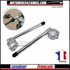 PAIRE DEMI GUIDON 48 mm ALU CNC Billet 48  mm Clip On Handlebars Racing SILVER