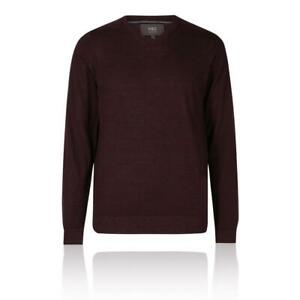 Marks&Spencer T303535M M&S Aubergine Extra Fine Merino Wool V Neck Jumper £35