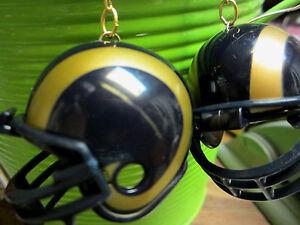 BIG St. Louis LA RAMS 925 EARRINGS NFL FOOTBALL HELMETS Handcrafted USA Nora's