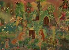 VINTAGE MERMAID FAIRIES BOTANICAL AMERICANA GARDEN SEA CAT CASTLE HORSE PAINTING