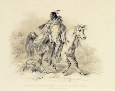 A Blackfoot Indian on Horse-Back 30x44 Karl Bodmer Native American Indian Art