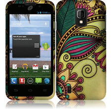 Straight Talk ZTE Majesty 796C Rubberized HARD Case Snap Cover Antique Flowers
