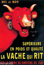 Vintage French  Advertising Poster -' Laugh Cow Cream Cheese'