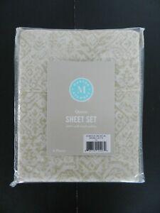 Martha Stewart QUEEN 4pc Sheet Set 100% Cotton Sateen 300 TC Taupe Tile NIP