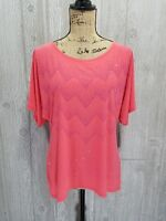 Forever Jade Women's Short Sleeve Embellished Blouse Top Stretch Size L Large