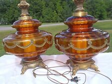 STUNNING VINTAGE HOLLYWOOD REGENCY LARGE AMBER GLASS TABLE LAMPS,ANTIQUES,FANCY