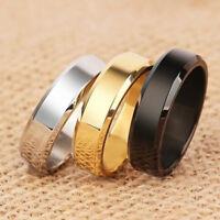 6mm Silver/GoldBlack/Blue Polished Bands Titanium Steel Men Women Ring Size 5-14