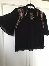Zara Black Embroidered Mexican Floaty Top Small