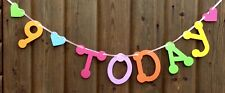 GIRLS 9th BIRTHDAY BANNER PARTY BUNTING MULTI COLOUR