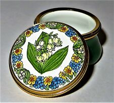 Staffordshire English Enamel Box- Lily Of The Valley - Flower Of The Month - May