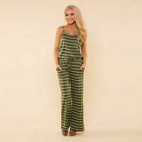 Women's Boho Striped Sleeveless Strappy Playsuit Party Trousers Jumpsuit Green