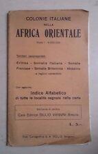 COLONIE ITALIANE NELL'AFRICA ORIENTALE ERITREA SOMALIA CARTINA SCALA 1:4.000.000