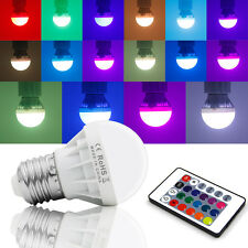 Bid E27 3W RGB LED Bulb Control 16 Color LED Light + IR Wireless Remote Lamps