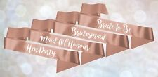 Personalised Wedding Hen Party Satin Ribbon Rhinestone Sash Vintage Rose Gold