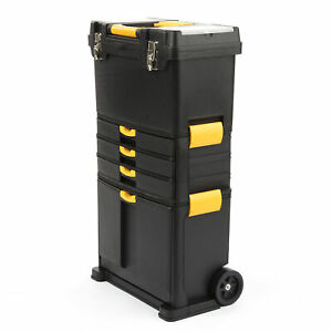Rolling Tool Box Storage Chest Portable Wheels Garage 3 Part Top Box Mobile