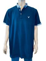 Voi Jeans - Polo Shirt - Mens - 2XL , XXL Extra Large - Check Navy Blue- T-Shirt