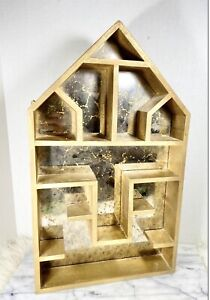 Vintage Gold SHADOW BOX WOOD House Mirror Wall Display Shelf Large Mercury Glass