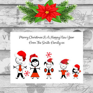 Personalised Christmas Cards x 10 Free Envelopes Family Friends 4
