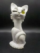 Vintage Haeger Winking Cat Piggy Bank Coin Slot Eye White Mid Century Modern