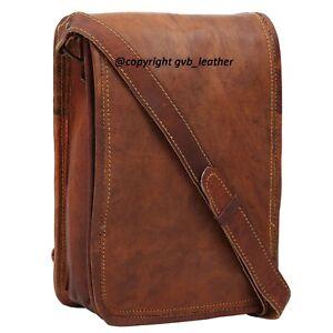 """13"""" Men's Real Vertical Leather Messenger Shoulder Laptop Satchel Handmade Bag"""