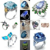 Woman Sapphire 925 Silver Cocktail Ring Wedding Engagement Jewelry Gift Size6-10
