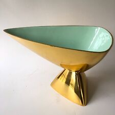 Modernist Jonathan Adler Brass Anvil Enamel Bowl Dish Aqua Mint Green Modern