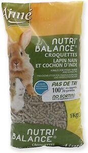 Nourriture Repas Complet Lapin Nain Cochon d'Inde Croquette 100%  Apport Sac 1Kg