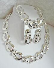 3-tlg. Schmuckset Kette Collier + Armband + Ohrstecker Silber Metall NEU + TOP
