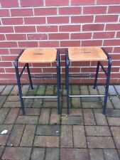 Vintage Original Stool Chemistry, Science Lab, School Kitchen-wooden seat X2 (A)