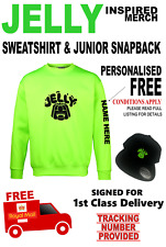 JELLY inspired Sweatshirt & Snapback Skip Cap AGE 7-8yrs PERSONALISED FREE