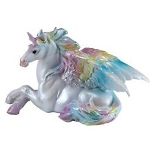"Rainbow Unipeg Lying Unicorn Pegasus Figurine Statue 5.75""L Resin Brand New"