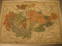Antike Landkarte von 1900: Thüringische Staaten,Thüringen- mit Stadt-Antique map