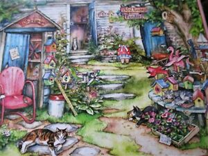"""Suns Out Brand 300 Piece Kim Jacobs Art PUZZLE """"Wonderful Whirligigs"""" 18""""x24"""""""
