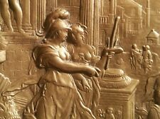 Minerva introducing Painting to the Liberal Arts antique roman bronze plaque