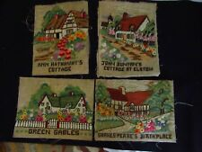 Lot of 4 Vintage hand worked needlework pieces, Cottage Suitable for Framing