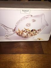NAUTICAL Home Essentials Clear Glass Fish Shaped GoldFish bowl Candy Dish Holder