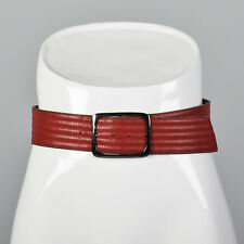 Small 1980s Yves Saint Laurent Leather Belt VTG Red Stripes Silver Buckle