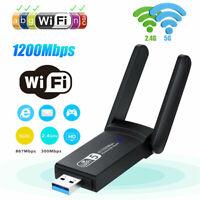 1200Mbps Dual Band 5GHz Long Range Wireless WiFi Adapter Mini USB 3.0 Antennas`