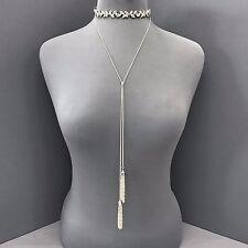 Silver Leaf Rhinestone Wrap Around Choker Style Long Dangle Tassel Necklace