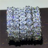 Simple Women Wedding Engagment Band Ring Sparkle Cz AAAAA Stackable Rings