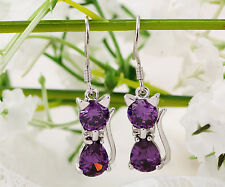 Fashion Silver Purple/Red/Black Crystal Zircon Cat Earring Dangle Hook New