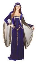 Adult Blue Crushed Velvet Renaissance Queen Medieval Costume Size Medium 10-14