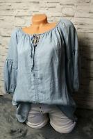 Italy Jeansbluse Kleid Tunika Jeans Bluse Gr. 36 38 40 blau bogger Hemd Ibiza