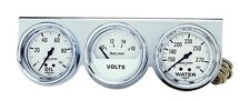Auto Meter 2329 Gauge Console 2 5/8 Water Temp Oil Pressure Voltage White Chrome