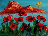 POPPIES  by Mark Kazav  Abstract Modern CANVAS Original Oil Painting   GFREWGB